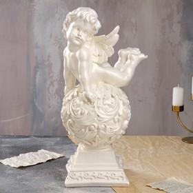 """Статуэтка """"Ангел на резном шаре"""", перламутровая, 51 см"""