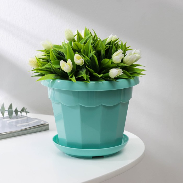 Flower pot is 1.8 liters, color turquoise