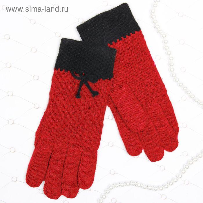 """Перчатки женские """"Эвелина"""" бант, длина-23см, безразмерные, цвет красный"""