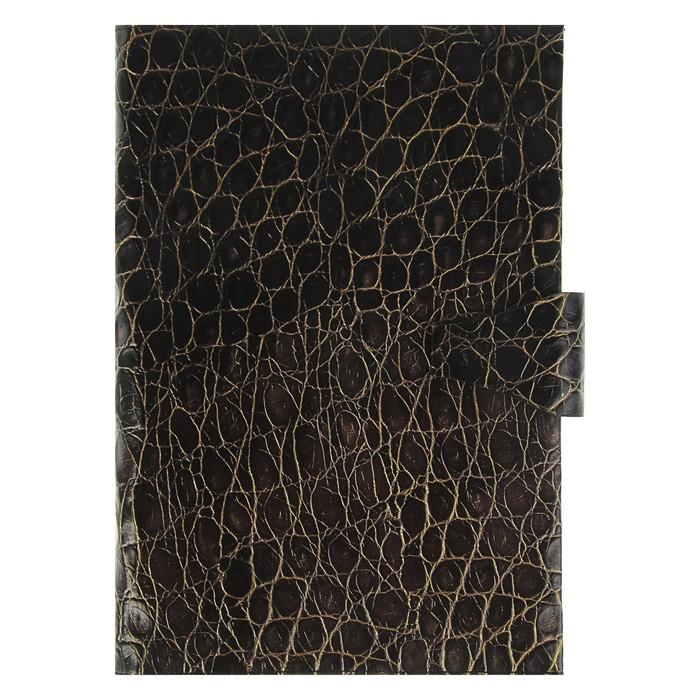 Еженедельник недатированный А4, 64 листа Nilo, натуральная кожа, сменный блок, золотой срез, чёрный