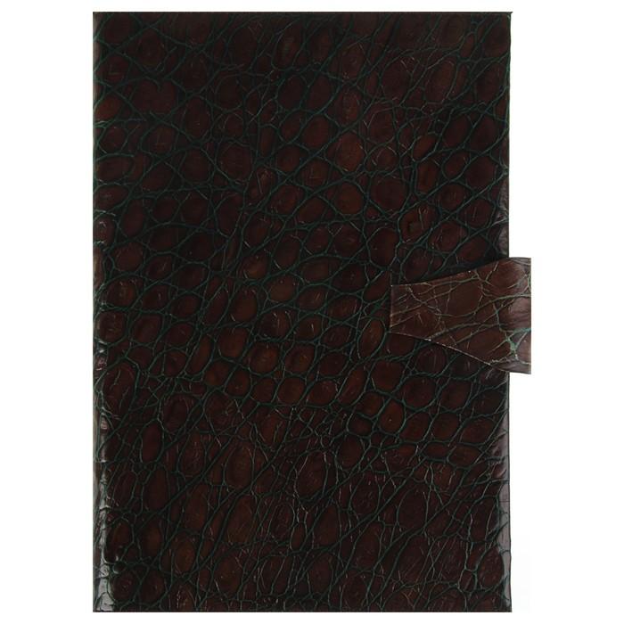 Еженедельник недатированный А4, 64 листа Nilo, натуральная кожа, сменный блок, золотой срез, коричневый