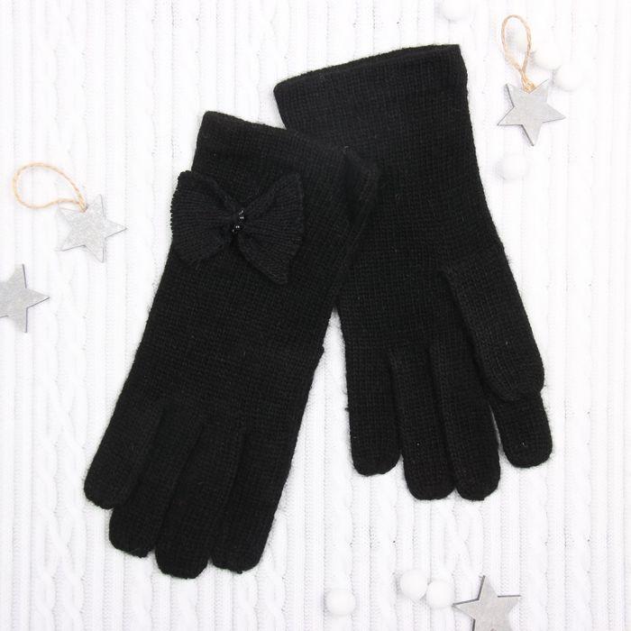 """Перчатки женские """"Аделиада"""", размер 18 (р-р произв. L-23см), цвет чёрный 58854"""