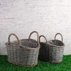 Набор корзин плетеных ива, 39×25× h=19/24(33) см, 34×20× h=17/22(30) см, серые, 2 шт