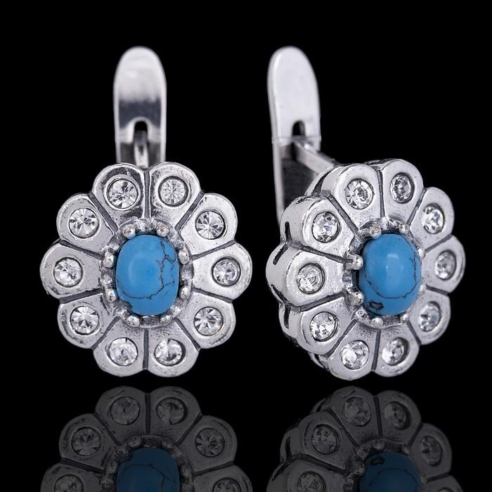 """Серьги """"Камелия"""", цвет бело-голубой в чернёном серебре"""