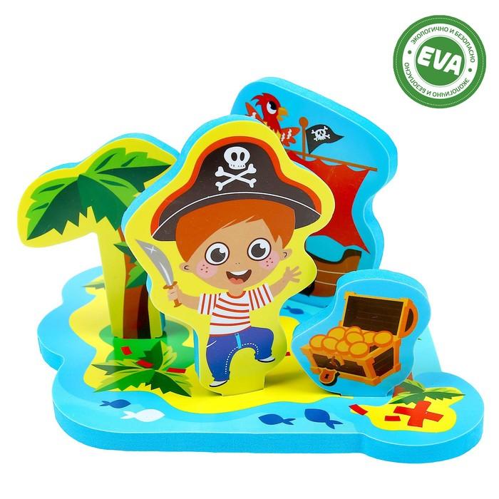 Набор развивающих игрушек для игры в ванной из EVA «Приключения пирата», 5 предметов - фото 105534816