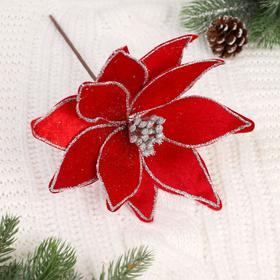 """Декор """"Зимний цветок"""" 24*25 см, кант, красный"""