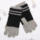 """Перчатки женские """"Алана"""", размер 18, цвет чёрный/серый 58871"""