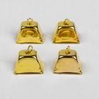 """Колокольчик """"Прямоугольный"""", набор 4 шт., размер 1 шт. 1×1,5×1,8 см, цвет золотой"""