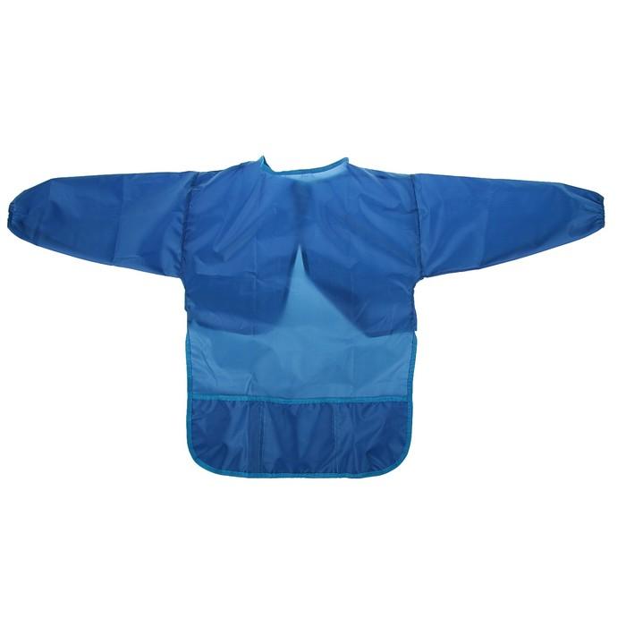 Фартук-накидка с рукавами для труда 540 х 450 Calligrata 3 кармана, синий