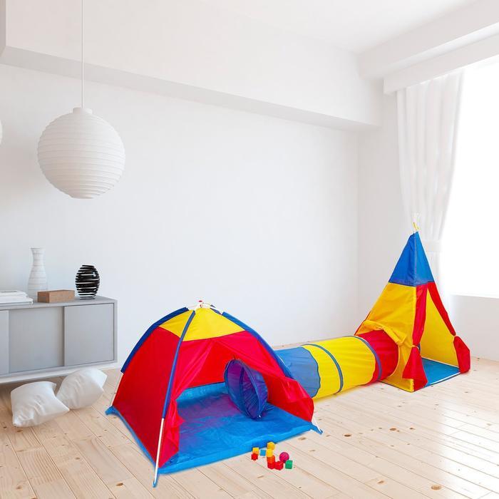 Игровой комплекс «Вигвам с туннелем и палаткой», 51х51х5см