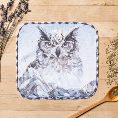 "Towel microfiber ""Owl"" 20x20 cm"