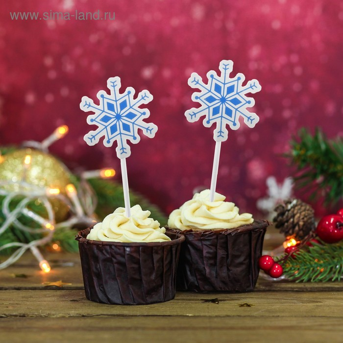 """Skewers for canapes """"Snowflake"""" color: blue (set of 20 PCs)"""