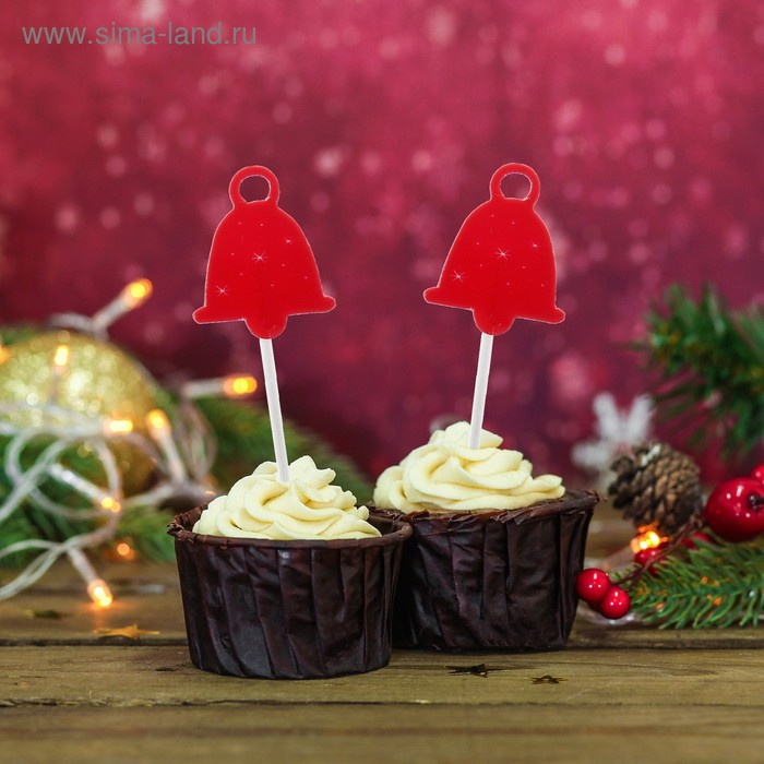 """Skewers for canapes """"Bell with snowflakes"""" color: red (set of 20pcs)"""