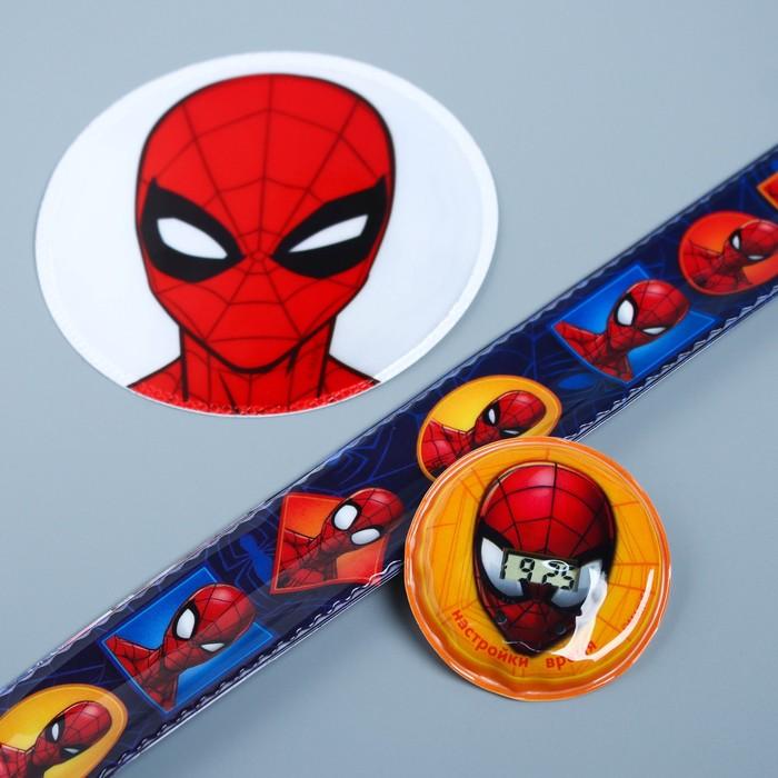 """Набор часы и светоотражающие наклейки """"Человек-паук"""", MARVEL"""