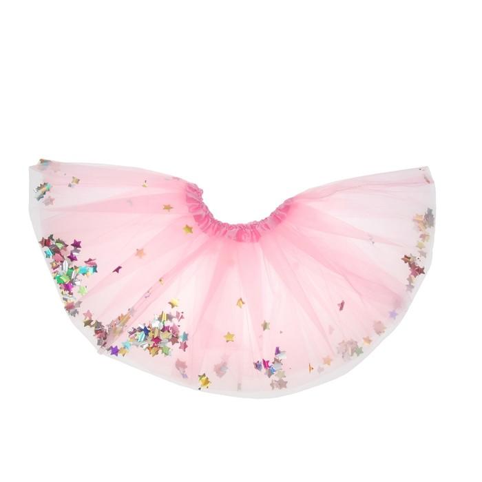 Карнавальная юбка «Кокетка», с конфетти, цвет розовый