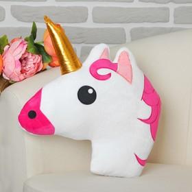 Игрушка-подушка «Единорог», розовая грива, золотой рог