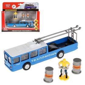 Троллейбус металлический с аксессуарами, открывающиеся двери, инерционный, 16,5 см