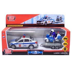 Машина металлическая инерционная «Lada Vesta. Полиция» с мотоциклом, 12 см