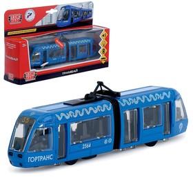 Трамвай металлический с гармошкой 19 см, световые и звуковые эффекты, инерционный