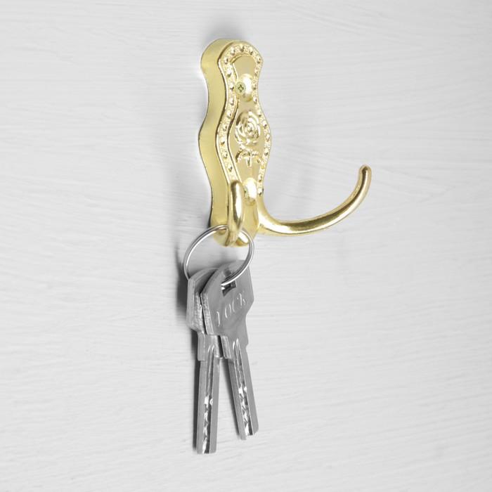 Крючок мебельный, КМ214GP, двухрожковый, цвет золото