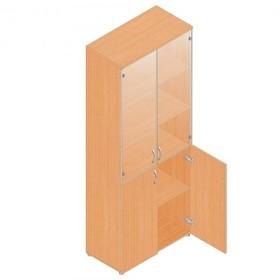 Шкаф для документов, 798х418х1960 мм,прозрачное стекло, бук
