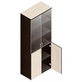Шкаф для документов, 798х418х1960 мм, прозрачное стекло, венге/дуб