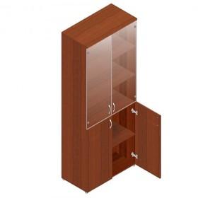 Шкаф для документов, 798х418х1960 мм, прозрачное стекло, орех