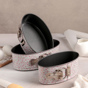"""A set of forms for baking split """"pastoral.Oval"""", 3 items: 22/20/18 cm, non-stick coating"""