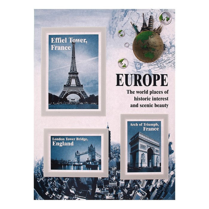 "Наклейка ""Фоторамка - Европа"" на 3 фото 10х15 см, 13х18 см"