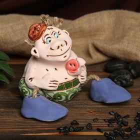 """Копилка авторская """"Весельчак со свинкой"""", глазурь, разноцветная, 14,5 см, микс"""
