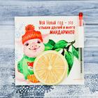 """Блок для записей с ручкой """"Новый год это улыбки друзей и много мандаринов"""""""