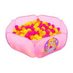 "Balls to the dry pool with the figure ""Fluorescent"", diameter of bowl 7.5 cm, set of 150 pieces, color: orange, pink, lemon"
