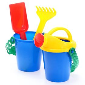 A set for playing in the sand, a small bucket, a scoop, a rake, a watering can, MIX colors.