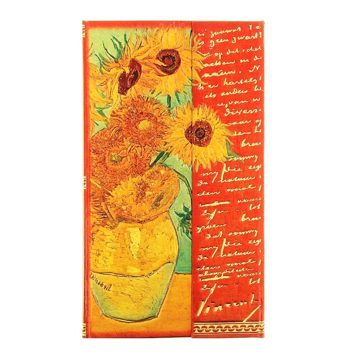 """Записная книжка с магнитным клапаном """"Подсолнухи. Ван Гог"""", 96 листов, А6"""
