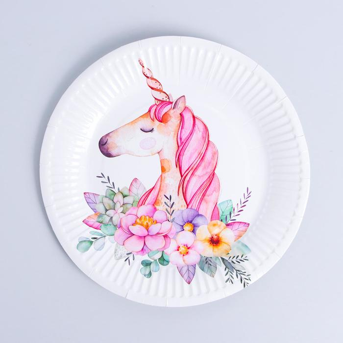 Тарелка бумажная «Прекрасный единорог», набор 6 шт.
