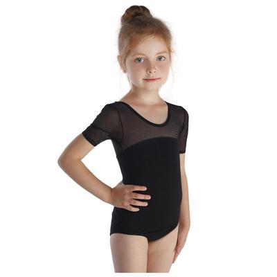 Купальник гимнастический, сеточка, короткий рукав, размер 30, цвет чёрный