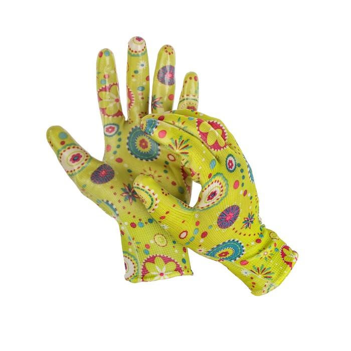 Перчатки нейлоновые, с латексной пропиткой, размер 7, цвет МИКС