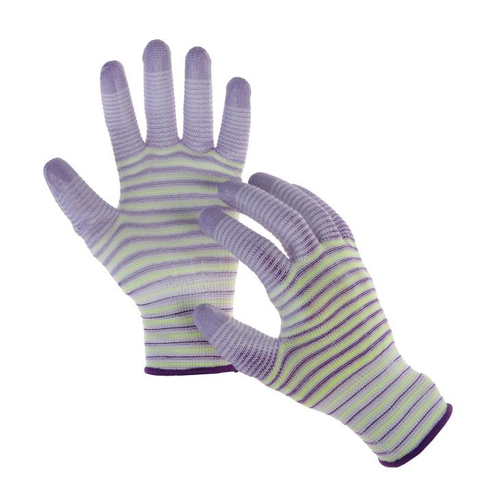 Перчатки нейлоновые, с латексной пропиткой, размер 7, цвет МИКС, «Полоса»