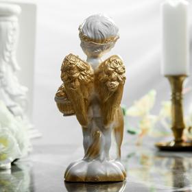 """Статуэтка """"Ангел с зонтиком"""", белый цвет, с золотистым декором, 23 см - фото 1700015"""