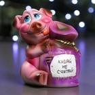 """Копилка """"Свинка с мешком"""" фиолетовая 18 см"""