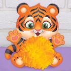 """Пушистая игрушка из помпона """"Тигр"""""""
