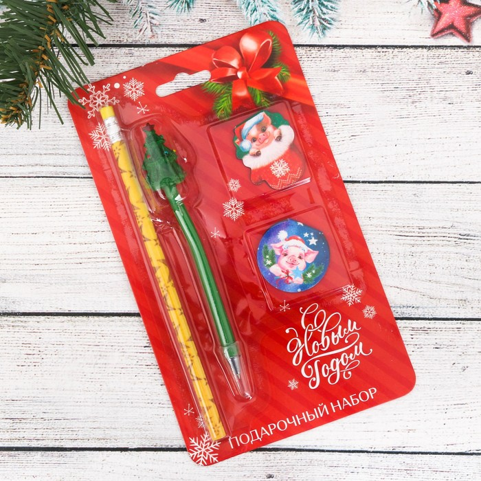 """Набор подарочный """"Счастливая свинка"""" карандаш 2 шт., 2 закладка 2 шт., ручка"""