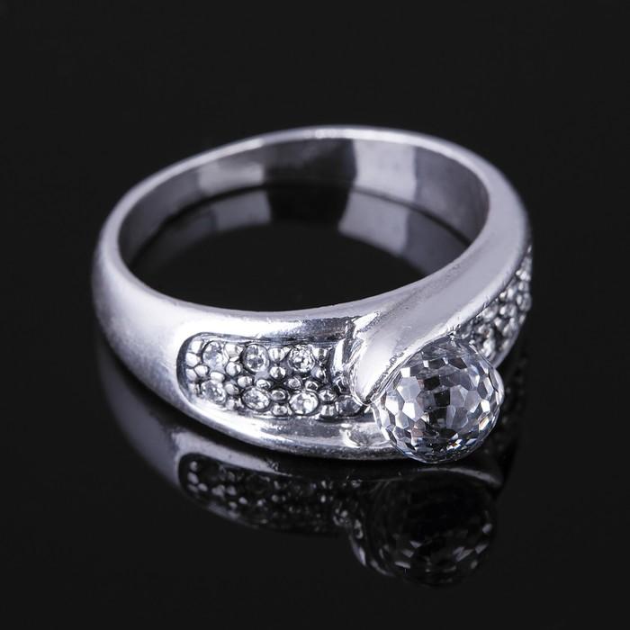 """Кольцо """"Росинка"""", размер 17, цвет белый в черненом серебре"""