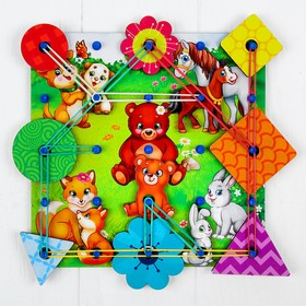 Геоборд с доп. элементами «Мамы и дети» 20×20 см