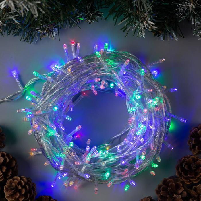 """Гирлянда """"Нить"""" 20 м , IP20, прозрачная нить, 200 LED, свечение мульти, 8 режимов, 220 В - фото 725197107"""