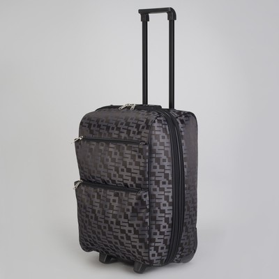 """Чемодан малый """"Геометрия"""", 20"""", отдел на молнии, с расширением, наружный карман, 2 колеса, цвет шоколадный"""