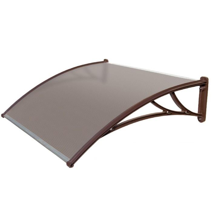 Защитный козырёк для крыльца 1500 КК-ПБ коричневый, с поликарбонатом