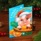 """Новогодняя гравюра на открытке """"Свинка в корзинке"""""""