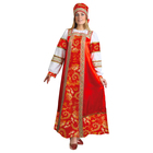"""Русский народный костюм """"Золотые узоры"""", платье, сорока, атлас, р-р 42, рост 172 см"""
