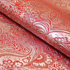 Ткань костюмная, парча жаккард, ширина 140 см, красный